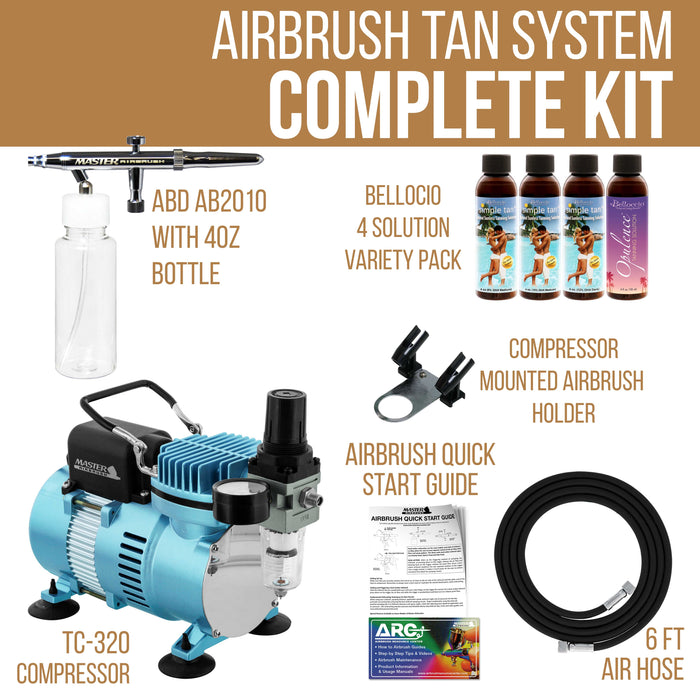 Complete Professional Turbo Tan Airbrush Sunless Tanning System; Belloccio 4 Solution Variety Pack