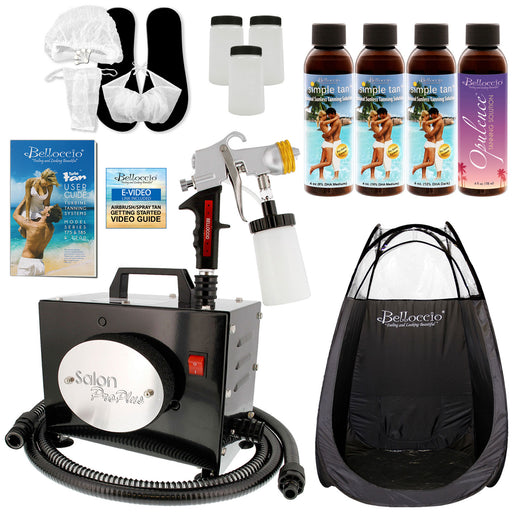 Salon Pro Plus T200-11, 2 Stage Turbine Sunless HVLP Spray Tanning System; Simple Tan 4 Solution Variety Pack, Tent, Accessories & Video