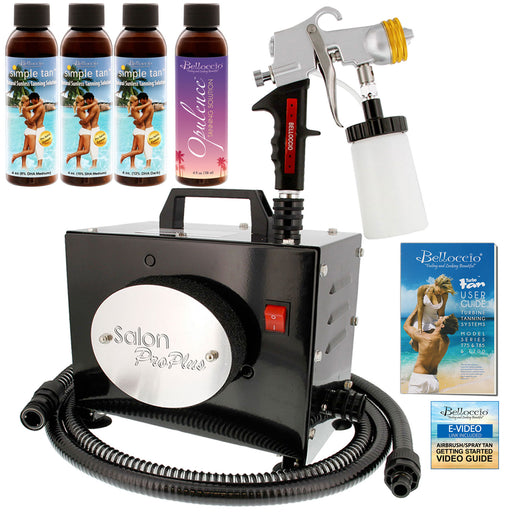 Salon Pro Plus T200-11, 2 Stage Turbine Sunless HVLP Spray Tanning System; Belloccio 4 Solution Variety Pack & Video