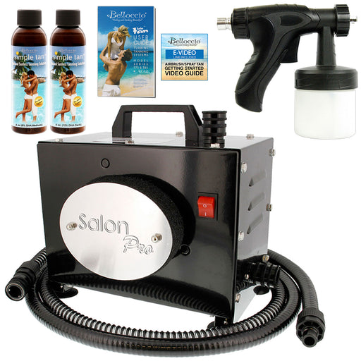 Salon Pro T200-12, 2 Stage Turbine Sunless HVLP Spray Tanning System; 2 Simple Tan DHA Tanning Solutions & User Guide Video