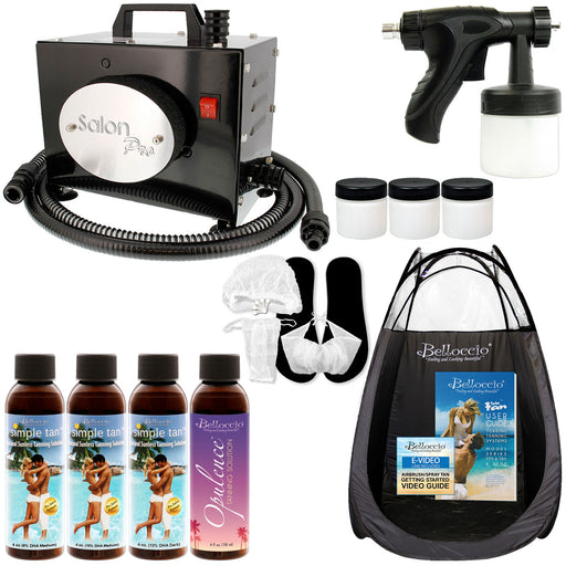 Salon Pro T200-12, 2 Stage Turbine Sunless HVLP Spray Tanning System; Simple Tan 4 Solution Variety Pack, Tent, Accessories & Video