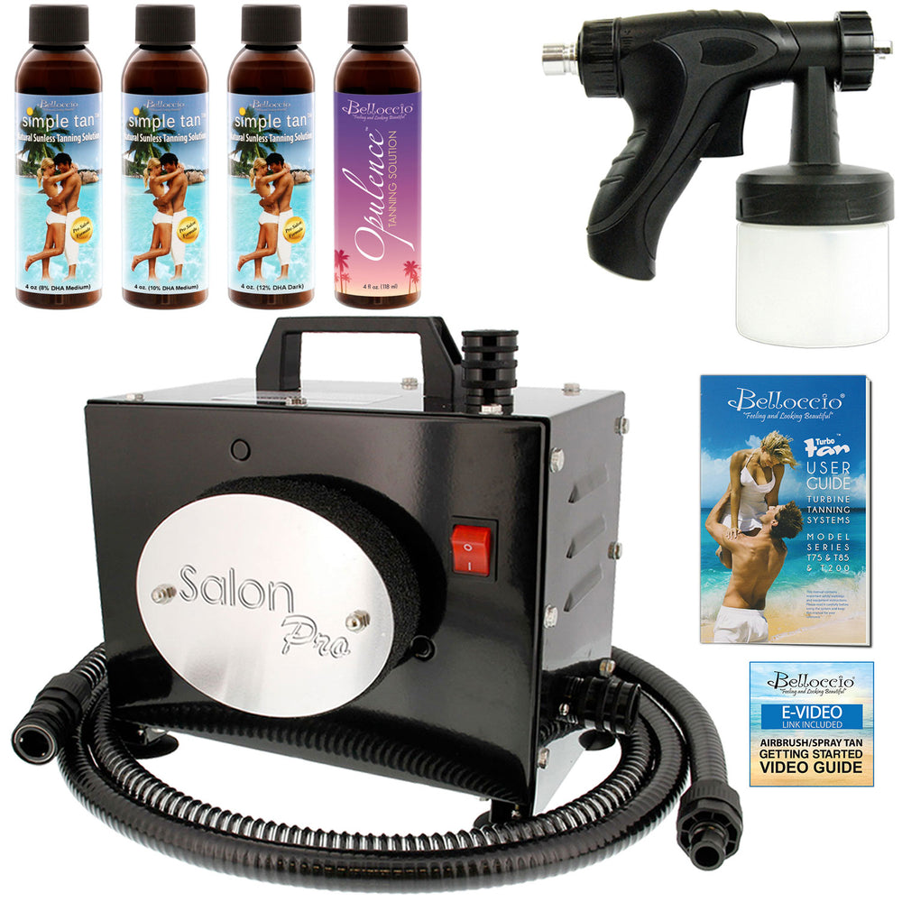 Salon Pro T200-12, 2 Stage Turbine Sunless HVLP Spray Tanning System; Simple Tan 4 Solution Variety Pack & Video