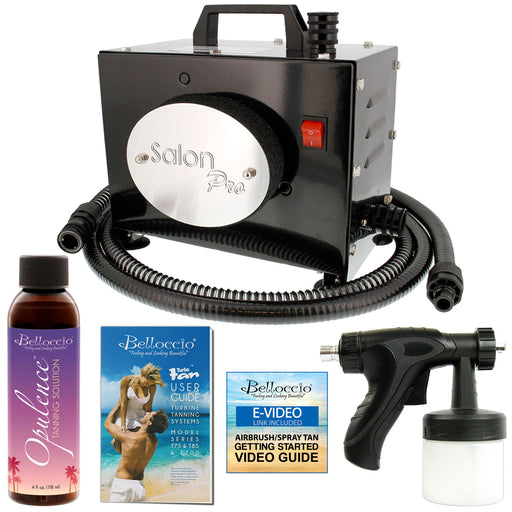 Belloccio Salon Pro T200-12, 2 Stage Turbine Sunless HVLP Spray Tanning System; Free 4 oz. Opulence Tanning Solution & User Guide Video