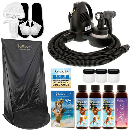 Belloccio Premium T75 Sunless HVLP Turbine Spray Tanning System; Simple Tan 4 Solution Variety Pack, Curtain, Accessories & Video Link