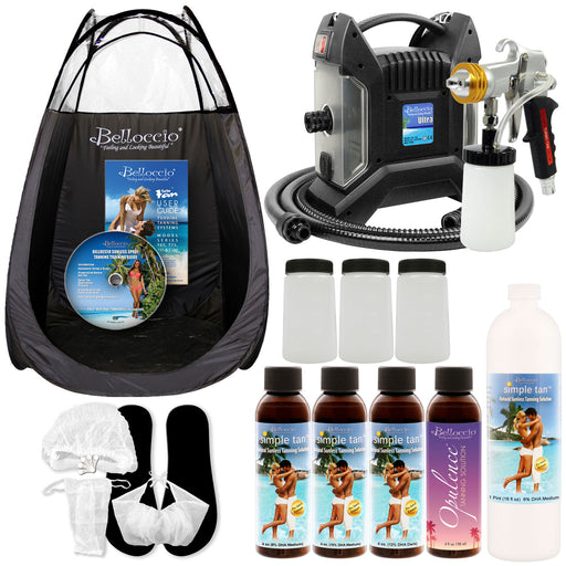 Ultra Pro Plus T85-QC-11 High Performance Sunless Turbine Spray Tanning System; G11 Metal Gun, Pint Simple Tan 8% DHA Solution, Variety Pack, Tent