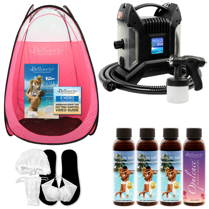 Ultra Pro T85-QC High Performance Sunless Turbine Spray Tanning System; Belloccio 4 Solution Variety Pack, Pink Tent, Accessories & User Guide Video