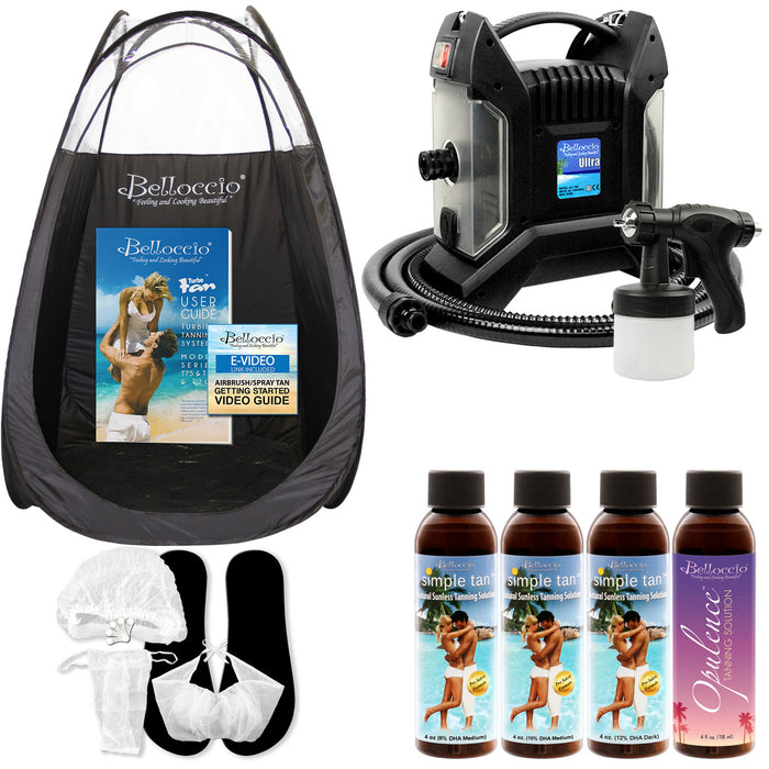 Ultra Pro T85-QC High Performance Sunless Turbine Spray Tanning System; Belloccio 4 Solution Variety Pack, Tanning Tent, Accessories and Video