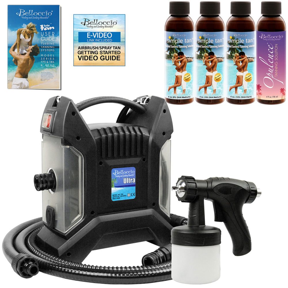 Ultra Pro T85-QC High Performance Sunless Turbine Spray Tanning System; Belloccio 4 Solution Variety Pack & User Guide Video