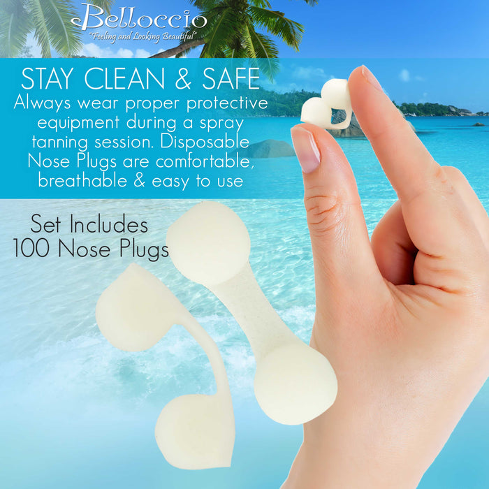 100 Disposable Nose Filter Plugs: Breathable Dust Plug, Sunless Spray Tanning, Salon, Spa