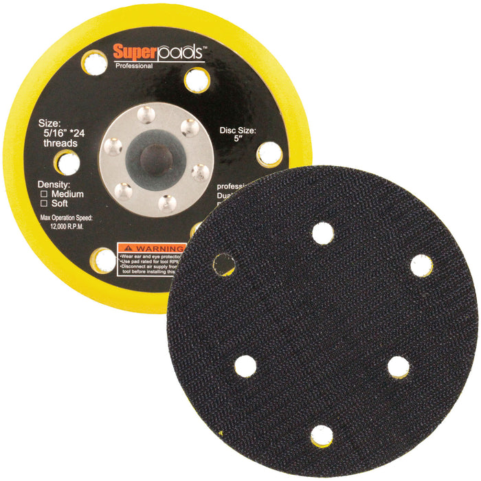 "5"" DA Polisher & Sander Pad - 6 Hole Hook & Loop Face - Dual Action Random Orbital"