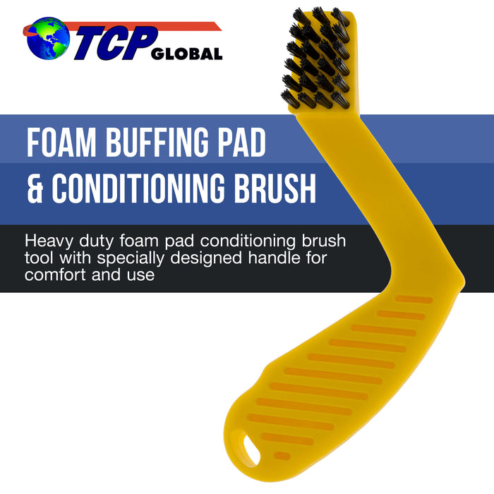 TCP Global - Foam Buffing Pad Conditioning Brush - Nylon Bristle Cleaning Recondition Tool for Polishing, Compound Polisher Pads - Car Auto Detailing