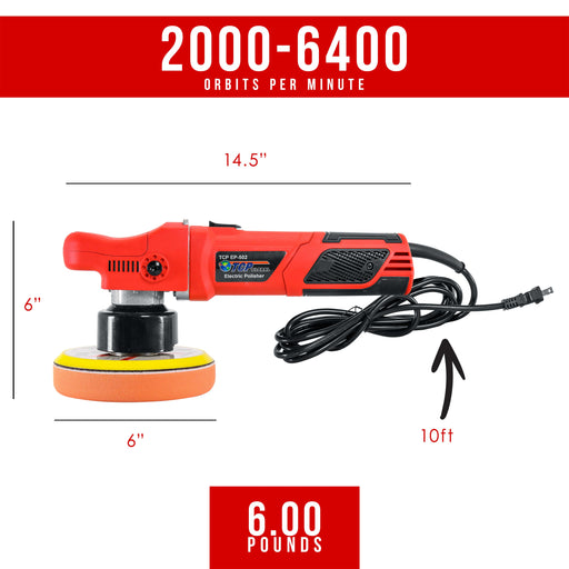 "Model EP-502 - 6"" Variable Speed Random Orbit Dual-Action Polisher with a 6 Pad Professional Buffing and Polishing Kit - Buff, Polish & Detail Car Auto Paint"