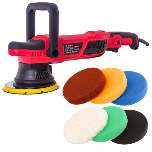 "TCP Global Heavy Duty 6"" Variable Speed Random Orbit Dual-Action Polisher with Digital OPM Display - 6 Pad Foam & Wool Professional Buffing and Polishing Kit - Buff, Polish, Detail Car Auto Paint"