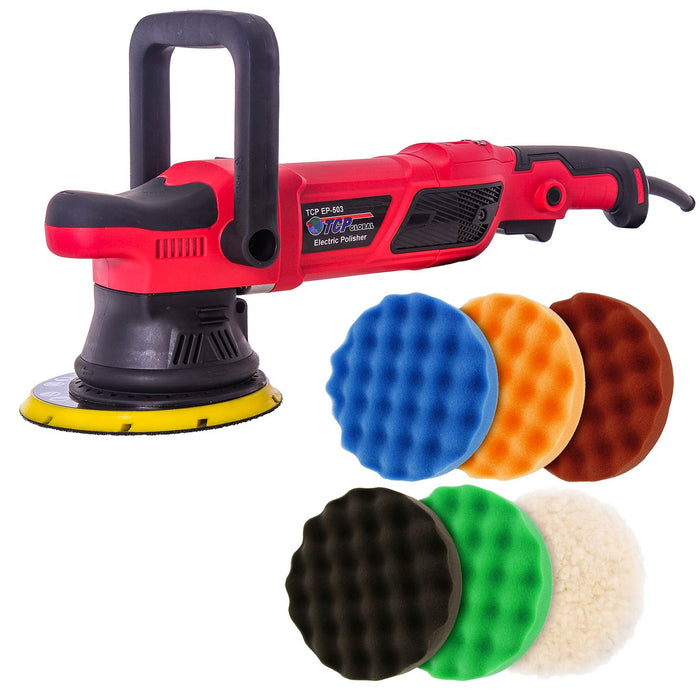 "TCP Global Heavy Duty 6"" Variable Speed Random Orbit Dual-Action Polisher with Digital Display - 6 Pad (Waffle Foam & Wool) Professional Buffing and Polishing Kit - Buff, Polish, Detail Car Auto Paint"