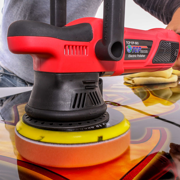 Polish /& Detail Car Auto Paint EP-502-6DA-FF Buff TCP Global Model EP-502-6 Variable Speed Random Orbit Dual-Action Polisher with a 6 Pad Professional Buffing and Polishing Kit