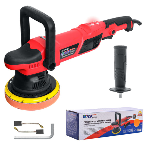 "TCP Global Heavy Duty 6"" Variable Speed Random Orbit Dual-Action Polisher, Digital OPM Display - Professional High Performance Buffer, Powerful 8 Amps 950 Watts - Buff, Polish, Detail Car Auto Paint"