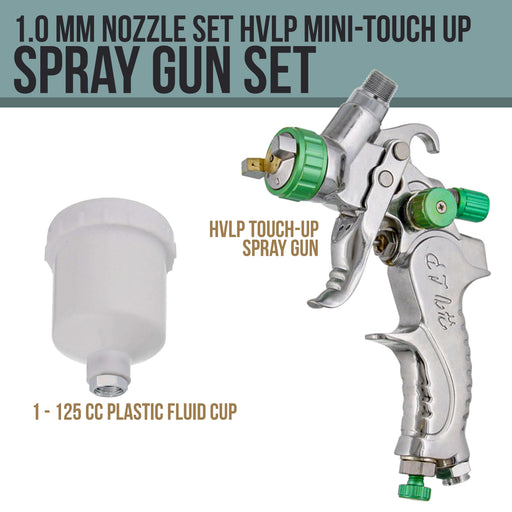 Professional TCP Global Brand HVLP Touch-Up Spray Gun with a 1.0mm Fluid Tip & 4 oz. (125cc) Plastic Cup with Lid