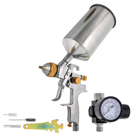 TCP Global Brand Professional Gravity Feed HVLP Spray Gun with a 1.3mm Fluid Tip, 1 Liter Aluminum Cup and Air Regulator