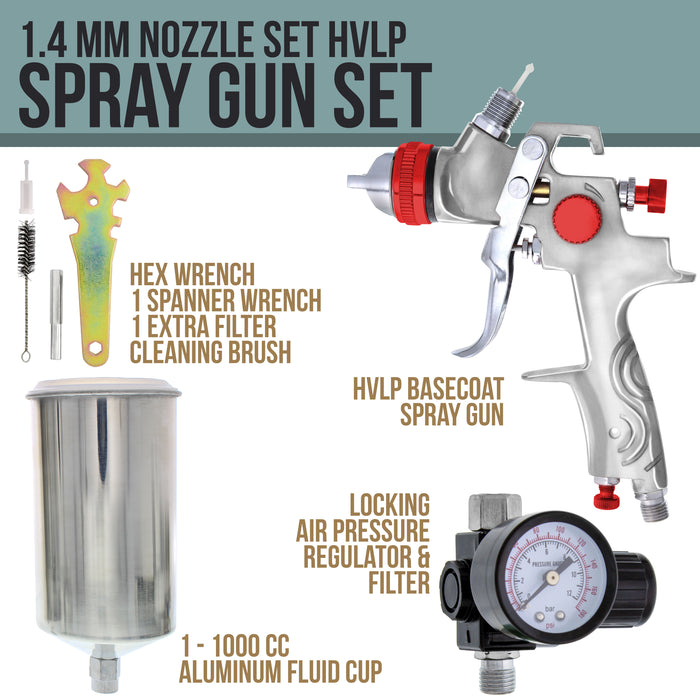 TCP Global Brand Professional Gravity Feed HVLP Spray Gun with a 1.4mm Fluid Tip, 1 Liter Aluminum Cup and Air Regulator
