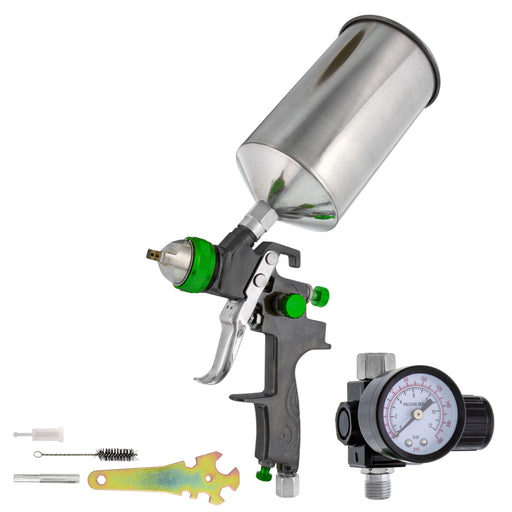 TCP Global Brand Professional Gravity Feed HVLP Spray Gun with a 2.0mm Fluid Tip, 1 Liter Aluminum Cup and Air Regulator