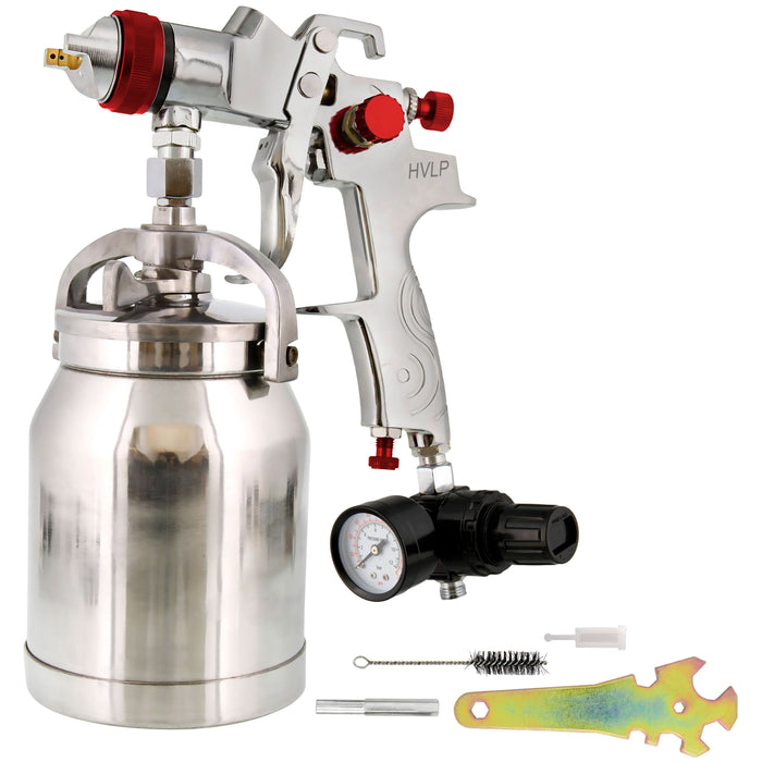 Professional Suction Feed HVLP Spray Gun with a 1.4mm Fluid Tip, 1 Liter Aluminum Cup and Air Regulator