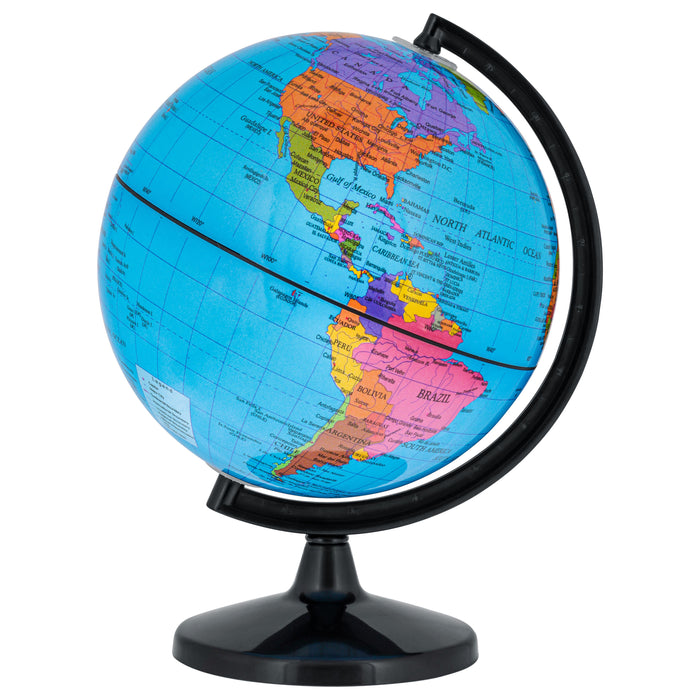 "TCP Global 6"" Blue Ocean World Globe with Black Base - Political Globe, Vertical Axis Rotation - Educational, Kids Learn Earth's Geography, Shelf Desk"