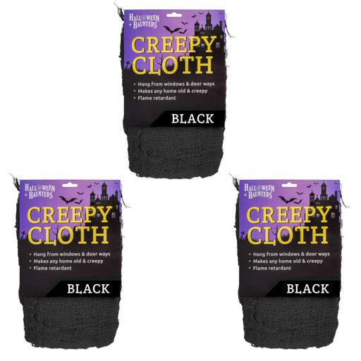 Black Freaky Loose Weave Creepy Cloth Fabric - Drape on Props and Decor for Spooky, Scary Haunted Houses (Pack of 3)