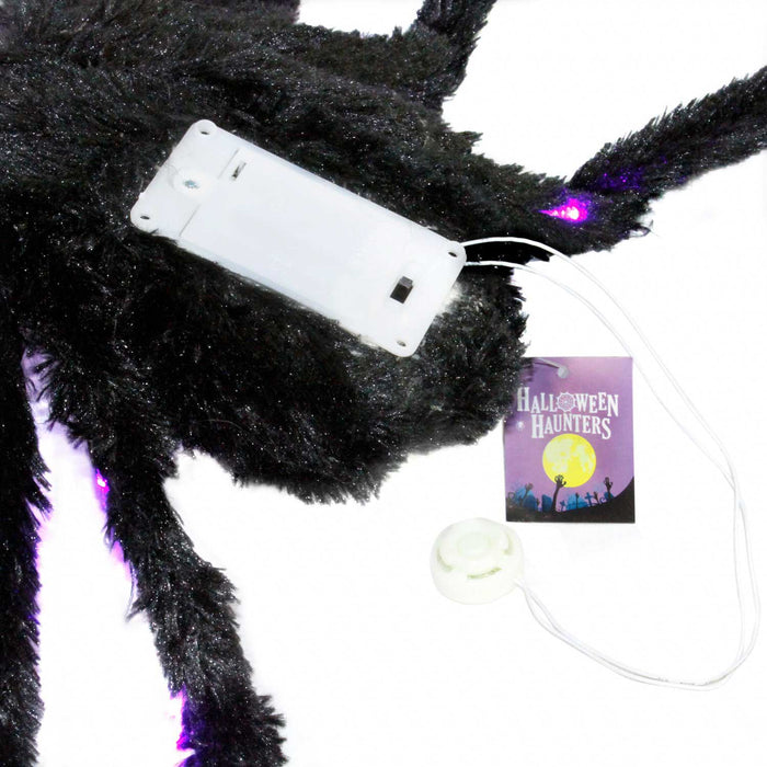 "Giant 28"" Realistic Scary Black Spider with 26 Purple LED Lights Prop Decoration - Creepy Crawly Fury Legs"