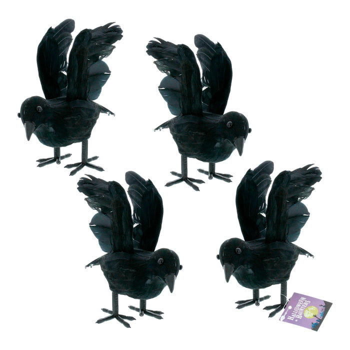 Realistic Feathered Black Crows Prop Decoration (Set of 4) - Scary Standing Flying Birds, Blackbirds, Ravens with Feather Wings - Tree, Haunted House, Graveyard, Tombstone Display