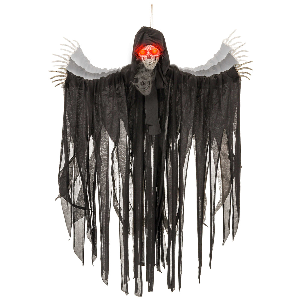 Animated 3 Foot Hanging Skeleton Reaper Prop Decoration - Scary Reaper Skull Moves Forward, Haunting Cackle Sound Phrases, LED Light Up Eyes