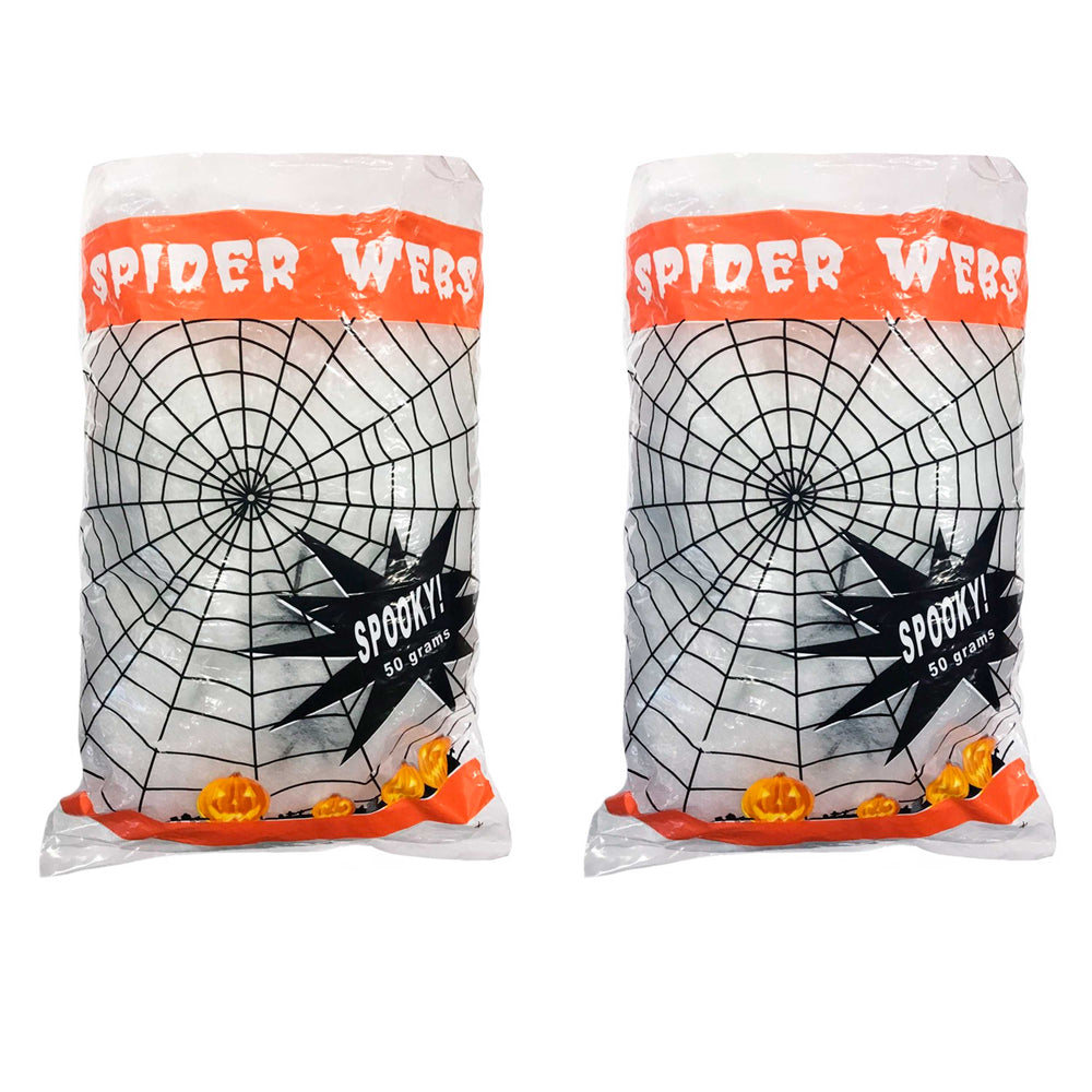 Super Stretch Spider Web Cobweb with 6 Black Spiders Prop Decoration - 100 Grams of Spooky Realistic Webbing Covers 400 Square Feet - Use in Yard, Entryway, Haunted House Graveyard