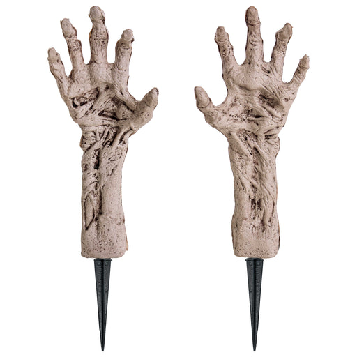 "14"" Severed Skeleton Zombie Ghoul Hands and Arms Groundbreaker Prop Decoration - Rising Scary Mangled Bone Corpse Fingers for Haunted House Graveyard, Cemetery, Coffin Party Display"