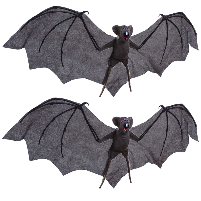 "Set of 2 Hanging 30"" Wing Span Flying Vampire Bats Prop Decoration - Realistic Grey Bats with Evil Red Eyes and Scary Fangs - Spooky Haunted House, Graveyard, Entryway Party Display"
