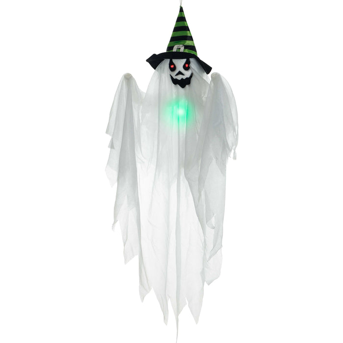 "29"" Hanging White Ghost Witch with Flashing Multi-Color LED Lights Prop Decoration - Spooky Red Eyes, Black and Green Hat, Screaming Face - Haunted House Entryway, Fun Party Display"