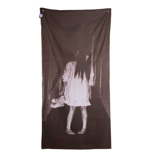 "Hanging Supernatural Horror Apparition Phantom Girl Lady Door Cover, Window Curtain Prop Decoration - Scary 63"" x 31"" Doorway Entryway Haunted House Party Ghost Banner, Teddy Bear"