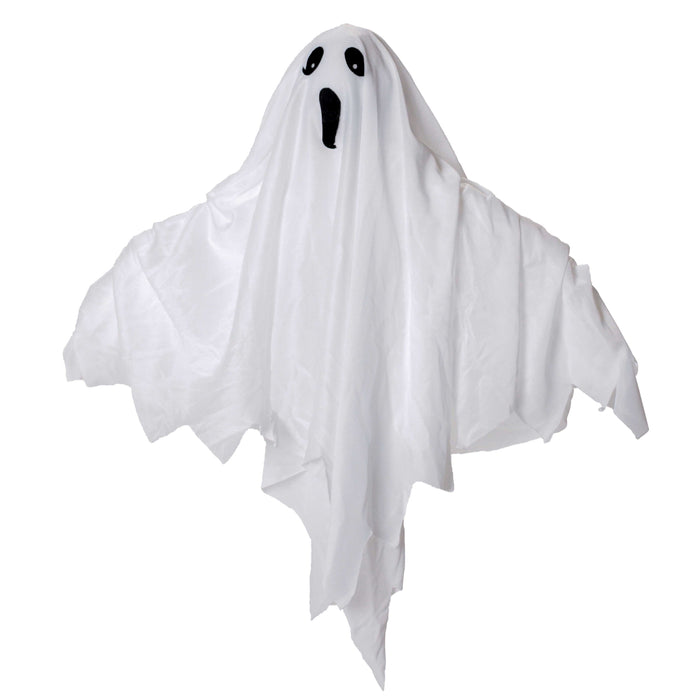 "Halloween Haunters Animated Hanging Floating Up and Down 24"" White Ghost Prop Decoration - LED Flashing Eyes, Speaks Eerie Howls and Spooky Boo Laughs"