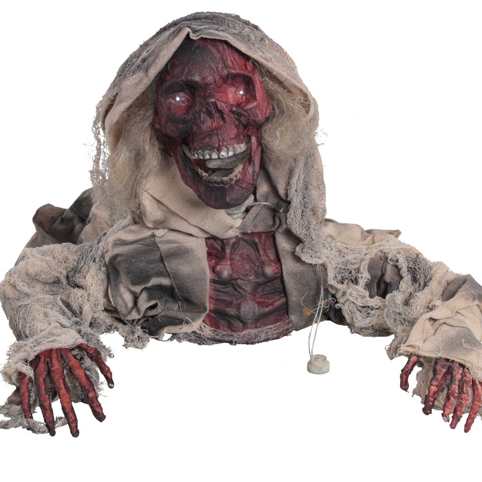 Halloween Haunters Animated Realistic Burnt Skeleton Corpse Head-Turning Groundbreaker Graveyard Prop Decoration - Speaking Charred Zombie Mummy