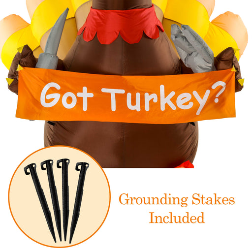 Christmas Masters Huge 7 Foot Inflatable Thanksgiving Turkey with Pilgrim Hat, Got Turkey Sign with Knife and Fork Indoor Outdoor Yard Lawn Decoration