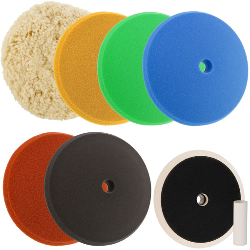 "Ultimate Buffing and Polishing Kit with 6 - 8"" Pads; 5 Foam & 1 Wool Grip Pads and a 5/8"" Threaded Polisher Grip Backing Plate"