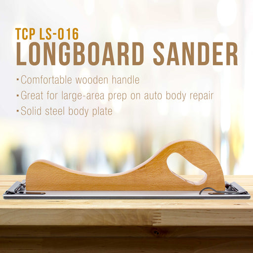 "Wooden Handle Longboard Sander for PSA Sandpaper 16-1/2"" x 2-3/4"""