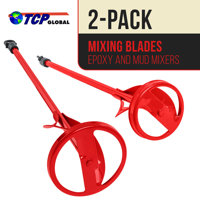 "TCP Global Set of 2 Paint, Epoxy Resin, Mud and Cement Mixer Blades - Power Drill Stirring Tools - 15.5"" & 14"" Ribbon Mixing Paddles, 3/8"" & 5/16"" Hex Head Shafts - Mix 1 to 5 Gallon Bucket - Concrete"