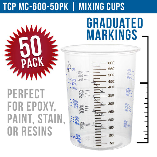 (Box of 50) - 20 Ounce/600cc - Disposable Graduated Clear Plastic Cups for Mixing Paint, Stain, Epoxy, Resin - Mixing Cups