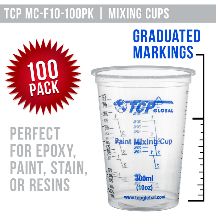 TCP Global 10 Ounce (300ml) Disposable Flexible Clear Graduated Plastic Mixing Cups - Box of 100 Cups & 50 Mixing Sticks - Use for Paint, Resin, Epoxy