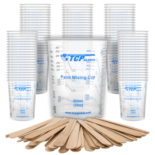 TCP Global 20 Ounce (600ml) Disposable Flexible Clear Graduated Plastic Mixing Cups - Box of 100 Cups & 50 Mixing Sticks - Use for Paint, Resin Epoxy