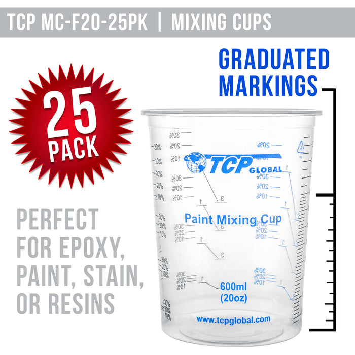TCP Global 20 Ounce (600ml) Disposable Flexible Clear Graduated Plastic Mixing Cups - Box of 25 Cups & 25 Mixing Sticks - Use for Paint, Resin, Epoxy