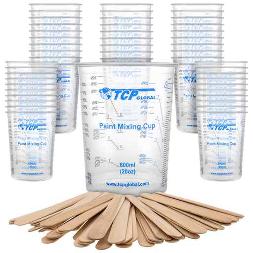 TCP Global 20 Ounce (600ml) Disposable Flexible Clear Graduated Plastic Mixing Cups - Box of 50 Cups & 50 Mixing Sticks - Use for Paint, Resin, Epoxy