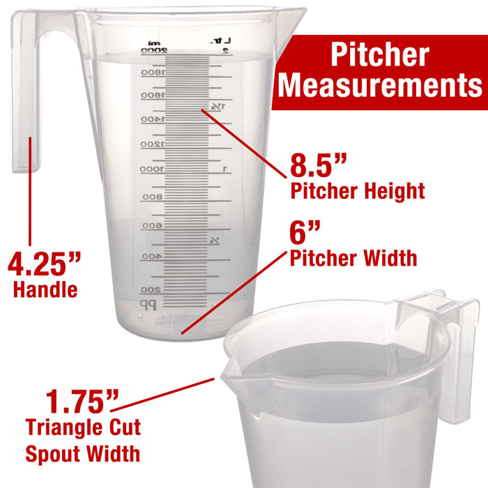 TCP Global 2 Liter (2000ml) Plastic Graduated Measuring and Mixing Pitcher (Pack of 4), 2 Quarts 64oz, Pouring Cup, Measure & Mix Paint Resin, Cooking