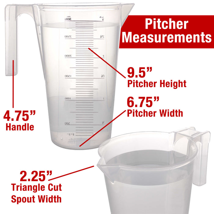 TCP Global 3 Liter (3000ml) Plastic Graduated Measuring and Mixing Pitcher (Pack of 4) - 3 Quarts - Pouring Cup, Measure & Mix Paint, Resin, Cooking