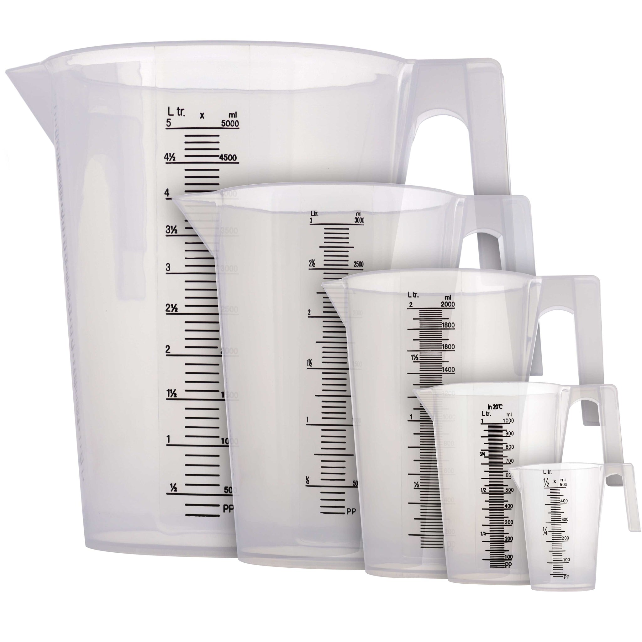 TCP Global 5 Piece Set of Plastic Graduated Measuring Mixing Pitchers - 500, 1000, 2000, 3000, 5000 ml Sizes - Pouring Cups Measure Mix Paint, Cooking