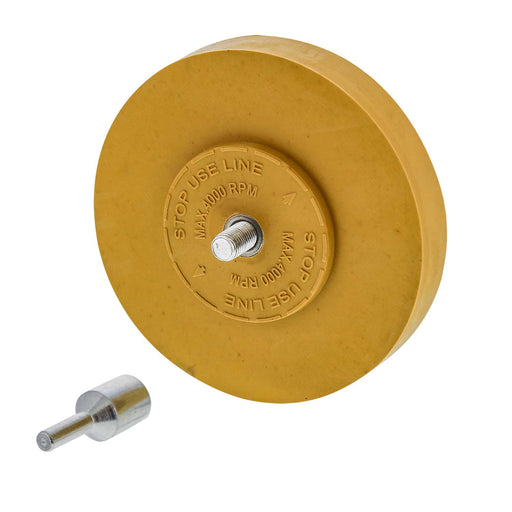 Rubber Eraser Wheel 4? Inch Pad Includes Drill Adapter ? Pinstripe, Adhesive Remover, Vinyl Decal, Graphics Removal Tool